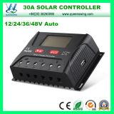 12/24/36/48V 30AのLCDおよびUSB (QWP-SR-HP4830A)が付いている太陽料金のコントローラ