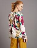 Blusa larga del satén de la funda de la impresión floral