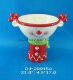 Ciotola di ceramica dipinta a mano della caramella della renna con il basamento