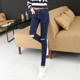 Long Fashion Light Blue Denim Designer Lady Custom Jean