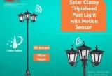Lumière vitreuse solaire de poste de Thriplehead avec le détecteur de mouvement