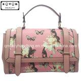 蝶および花模様を持つHandbagピンクカラー女性