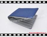 Бумажник человека PU голубой холстины способа кожаный с мешком монетки