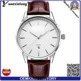 Yxl-447 de la manera de la fecha del calendario del cuero genuino del reloj de los hombres superventas promocionales de la muñeca de la manera de Yxl-
