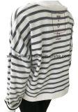 Краска пряжи Striped пуловер стороны Терри для женщин с печатью чернил воды