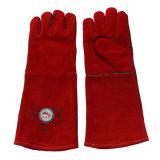 Зашитые перчатки заварки руки красного длиннего Cowhide защитные с Кевлар