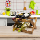 Деревянный складной держатель бутылки вина индикации хранения Countertop