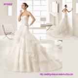 Trägerloser asymetrisch drapierter nebelhafter Tulle-Sitz und Aufflackern-Kleid mit aufwändiger Hand-Wulstiger Spitze Appliqué Schatz-Ausschnitt-Hochzeits-Kleid