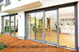 Schiebendes Fenster mit Aluminiumlegierung, verdoppeln glasig-glänzendes Kaffee-Farben-Glas