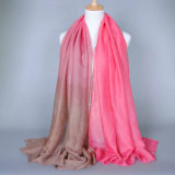 Sciarpa sottile di timbratura calda del poliestere delle donne con colore di degradazione (H14)