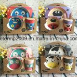Conjunto de louças para crianças com fibra de bambu inquebrável com alimentos seguros
