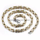 juwelen van de Ketting van Mens van de Halsband van het Roestvrij staal van de Link van de Kleur van 8mm de Brede Zilveren Gouden Vlakke Byzantijnse