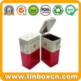 Caja de estaño metálico rectangular con tapa hermética, Cookie Caja de metal