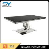 現代ステンレス鋼フレームの黒のガラスコーヒーテーブル