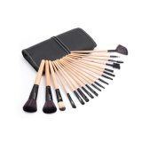 Kit de pinceau de maquillage cosmétiques de poils en plastique 18PCS professionnel avec étui noir