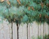 Peinture à l'huile d'arbres décoratifs à la feuille d'or en feuilles d'or sur bois (811703138)