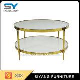 Nuevo diseño de moda de dos capas MDF mesa de café de cristal