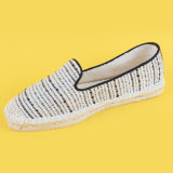 Pattini piani poco costosi delle scarpe di tela della più nuova tela di canapa beige causale delle bande