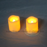 Small Indoor Using Party Decorativo Twinkling Crator Shape Ivory Pillar LED Votive Candle Light