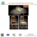 背部が付いている椅子を食事するのどの革ステンレス鋼