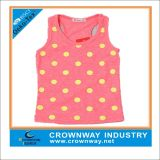 DOT Printing를 가진 주황색 Girls Custom Cotton Singlet