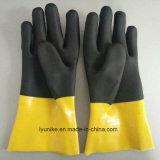 Двойной цветов Non-Slip перчатки с покрытием ПВХ рабочие перчатки