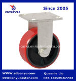 PU auf Cast Iron Core Plate Casters, Rigid Cast Iron Caster