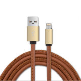 Ledernes USB-Kabel mit einem Kopf für iPhone und Android