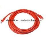 Rojo de cobre puro trenzado CAT6A del cable de la cuerda de corrección de Snagless UTP