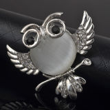 VAGULA Fashion Cat's Owl Strass Broche Opale en Argent VAG62266