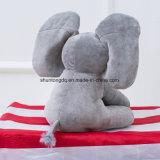 Peu de coup d'oeil de J un jouet de peluche de peluches d'éléphant de Boo électronique chantent à des gosses de bébé d'éléphant d'à cache-cache de jeu de chanson la poupée molle