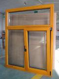 La pintura en polvo de aluminio de color amarillo inclinar y girar la ventana con fijo superior