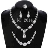 Multi-Shaped pera y la Marquesa de zirconio cúbico Necklace Earring Set de joyas