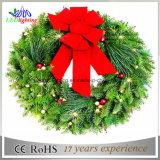 セリウムのクリスマスの花輪のクリスマスのハングの装飾の卸し売りクリスマスの装飾の軽い花輪ライト