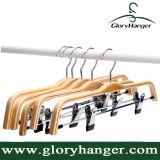 Haut de page pantalons en bois stratifiés Hanger avec 2 clips de pantalon réglable