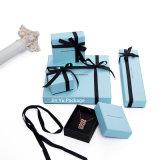 Коробки Jewellery бумаги цвета сини неба способа с черной тесемкой