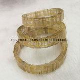 Gelber Rultilated Quarz-natürlicher Kristall-wulstiges Armband