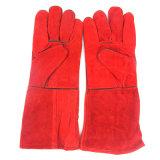 Rote Kuh-aufgeteilte Schweiß-Lederhandschuhe