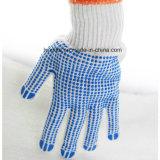 Пвх пунктирной рабочие перчатки/БЕЛЫЙ ПВХ пунктирной хлопок перчатки