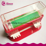 La scatola della spazzola di trucco di colore rosso cosmetica pulisce la cassa della spazzola