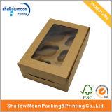 カスタムWindowsのクラフト紙のカップケーキボックス(QYZ022)