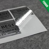 Kundenspezifischer silberner selbstklebender Aufkleber-prägenfirmenzeichen-Aufkleber