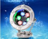 12V 24V IP68 impermeabilizan 15W colorido, charca al aire libre del proyector 18W