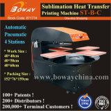 Stampante calda della pressa di scambio di calore della maglietta automatica pneumatica a base piatta delle stazioni di disegno 4 di U