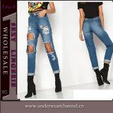 Las nuevas mujeres de la venta al por mayor del estilo destruyeron los altos pantalones vaqueros del dril de algodón de la cintura (TXXL287)