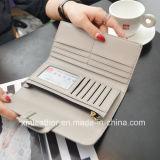 Кожаный Trifold бумажник с зажимом деньг для женщин