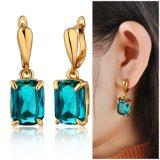 18K Gp Blauwe Vierkante Juwelen van de Manier Zircon bengelen Oorring