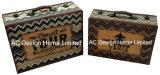 S/2 houdt de Decoratieve Antieke Wijnoogst de Kalme Doos van de Koffer van de Opslag van de Druk Pu Leather/MDF van het Ontwerp Houten