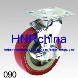Roter PU-Schritt-Schwenker mit Bremsen-Fußrolle