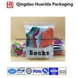 Chaussettes en plastique d'impression colorée empaquetant le sac avec la tirette